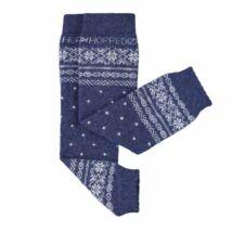 Hoppediz gyapjús lábszármelegítő - kék norvégmintás