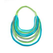 Újrahasznosított, bababarát, Cirrhopp textil nyaklánc - kék szivárvány