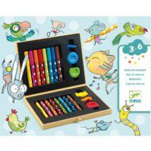 Djeco kreatív-készlet - marokkréta, vastag ceruza, filctoll