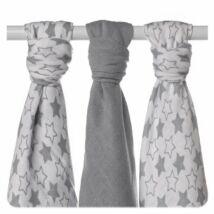 XKKO bambuszos textil (tetra) pelenka - szürke csillagos, 3 db