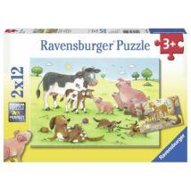 2 darab kirakó egyben! - Boldog állatcsaládok (12 darabos puzzle)