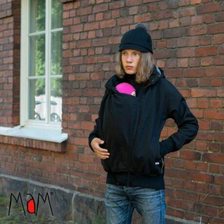 Manduca/MaM softshell bélelt hordozós kabát - fekete