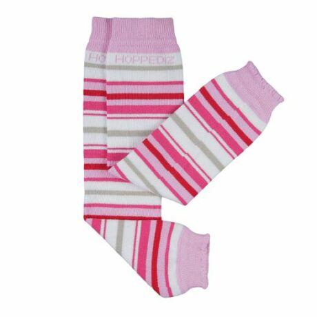 Hoppediz biopamut lábszármelegítő - fehér-barack-élénk rózsaszín
