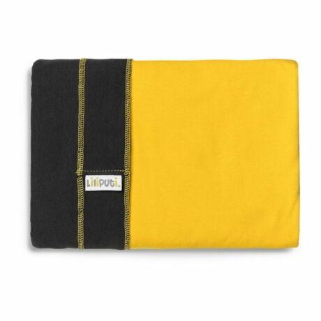Liliputi rugalmas kendő - grafitszürke sárga zsebbel