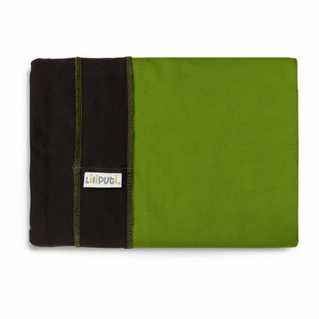 Liliputi Duo line rugalmas kendő - barna, zöld zsebbel